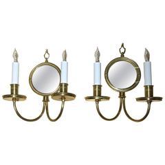 Pair Adam Style Brass Convex Mirror Wall Sconces