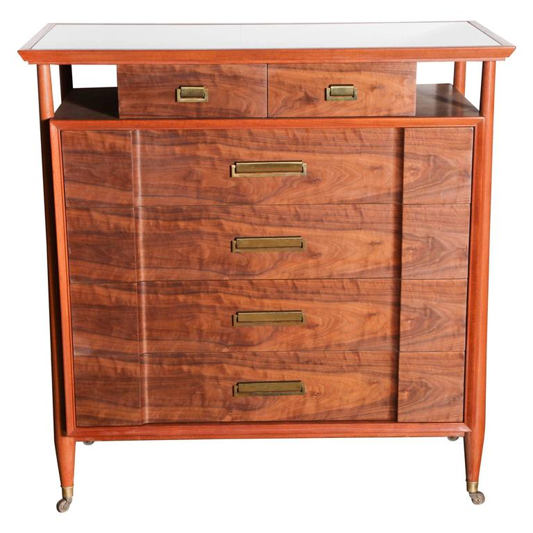 Landstrom Mahogany, Walnut and White Vitrolite Six Drawer Rolling Dresser, 1950s