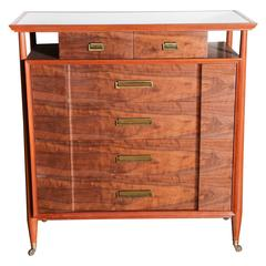 Landstrom Mahogany, Walnut and White Vitrolite Six-Drawer Rolling Dresser, 1950s