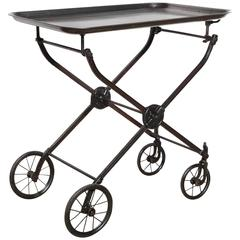 Circa 1890s Rolling Black Iron Hotel Tea Cart, Beverage Cart, Serving Cart