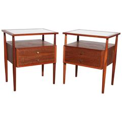pair of 1950s Landstrom Mahogany, Walnut and White Vitrolite Nightstands