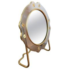 """Petite Brass and Steel """"Paquebot"""" Style Vanity Mirror, France, 1960s"""
