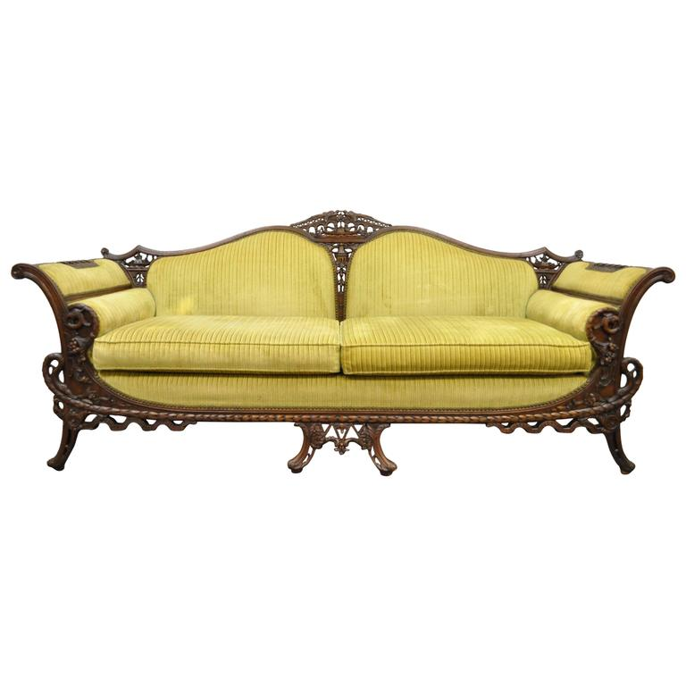 1930s Mahogany Chinese Chippendale Transitional Swan And Serpent Carved Sofa For Sale At 1stdibs