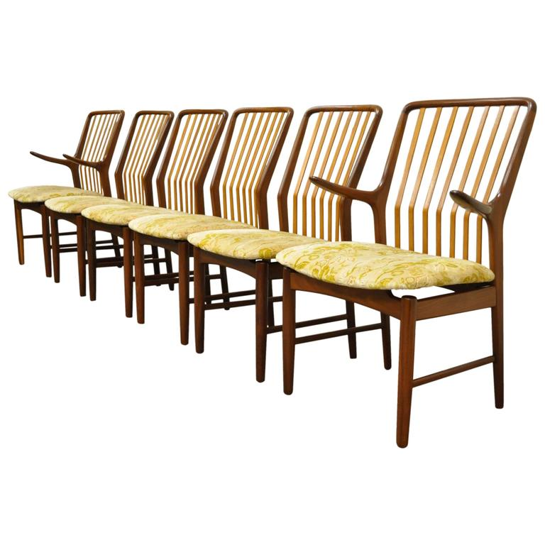set of six teak danish modern dining chairs by svend a madsen for