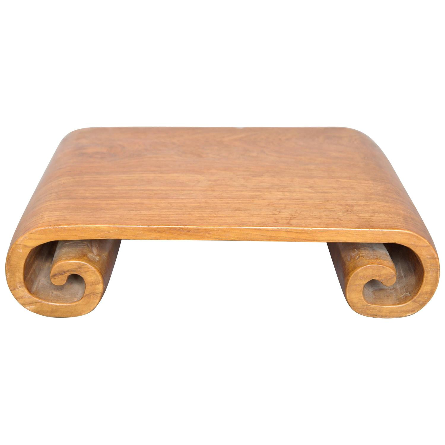 Teak Wood Pieces ~ Scroll tray hand carved made from a solid piece of