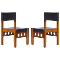 Pair of Brazilian Rosewood and Leather Chairs, Attributed to Sergio Rodrigues