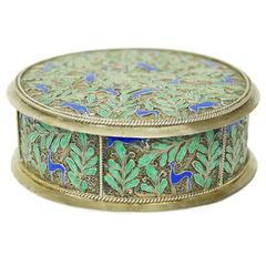 Silver and Blue and Green Enamel Round Jewelry Box
