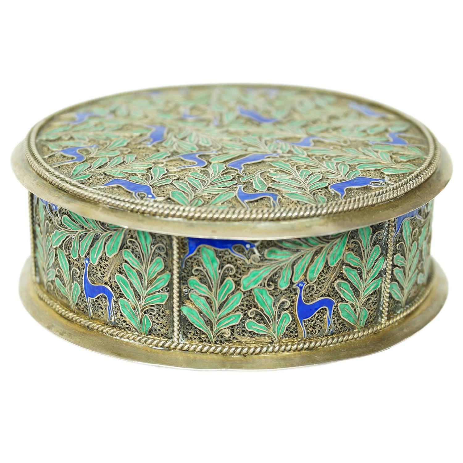 Round Decorative Boxes: Silver And Blue And Green Enamel Round Jewelry Box For