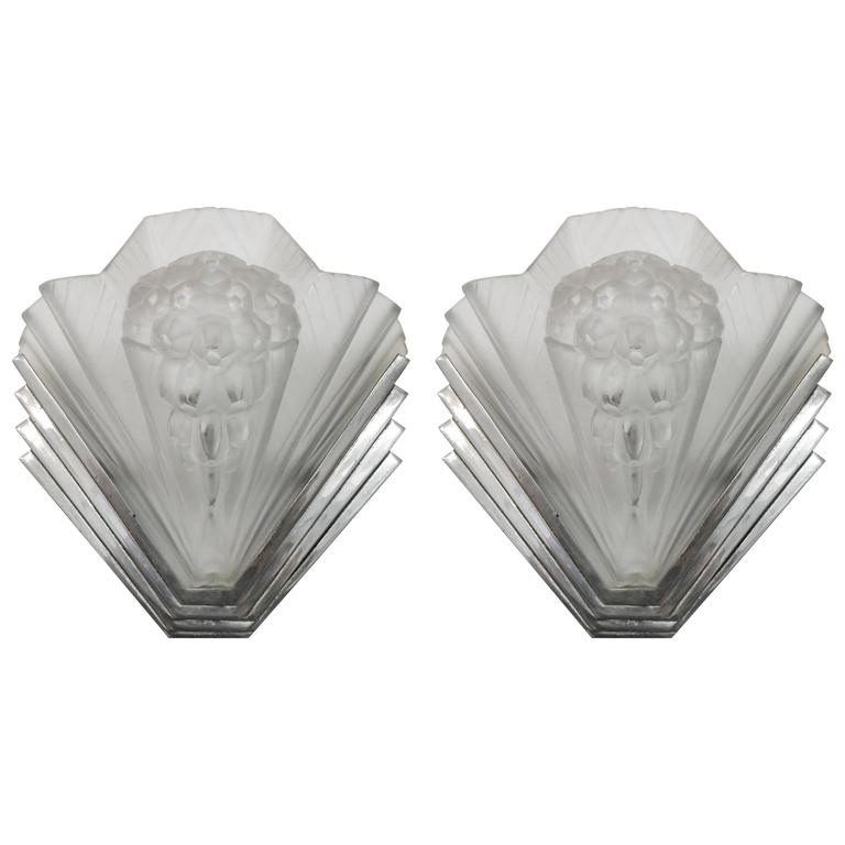French Art Deco Wall Sconces : Pair of French Art Deco Wall Sconces Signed by Petitot For Sale at 1stdibs