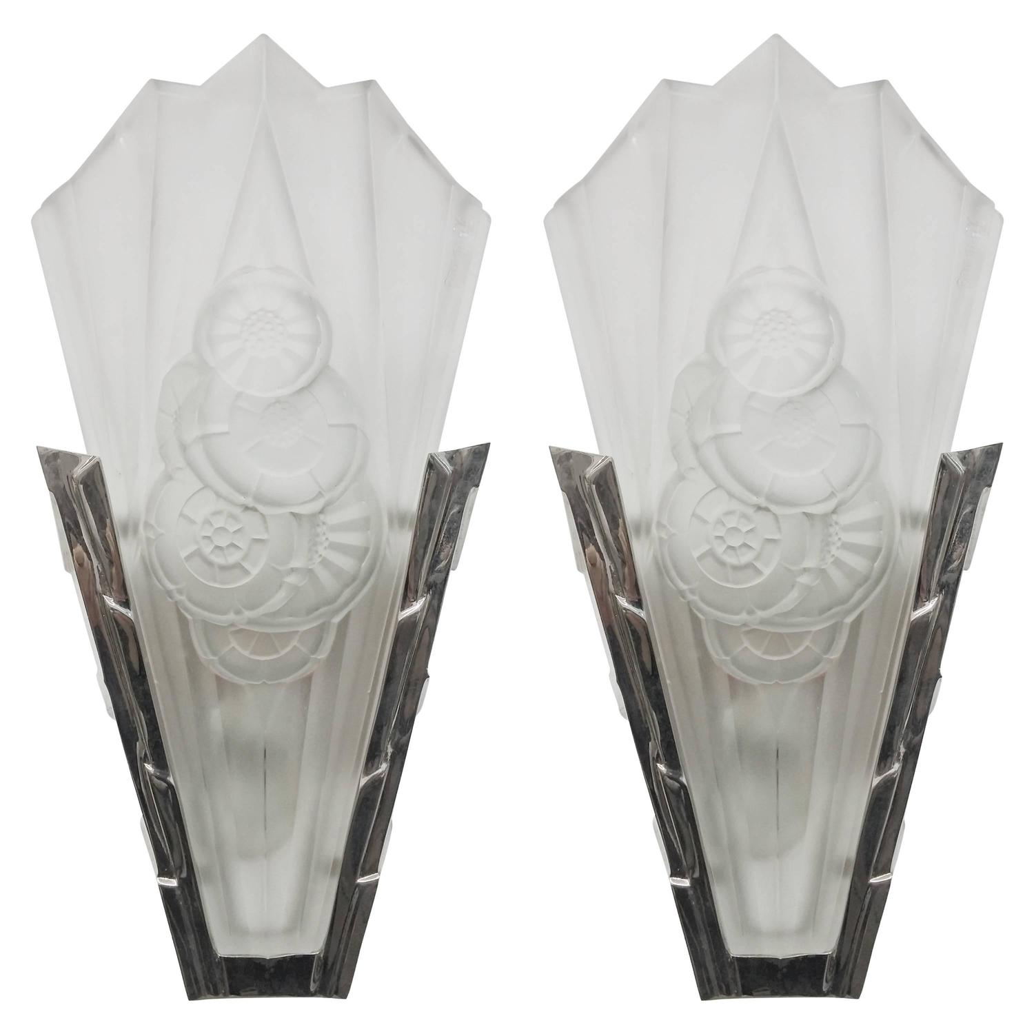 pair of french art deco wall sconces signed by degue for sale at 1stdibs