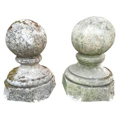 Pair of 18th Century French Carved Limestone Ball Finials