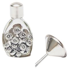 French Deco Sterling Silver & Glass Traveling Perfume Bottle and Funnel / SALE