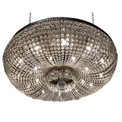 Monumental and Spectacular Crystal Basket Chandelier