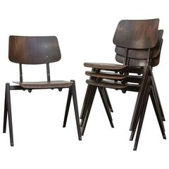 Set of Four Prouve Style Stacking Industrial School Chairs