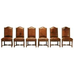 French Leather Dining Chairs, circa 1750
