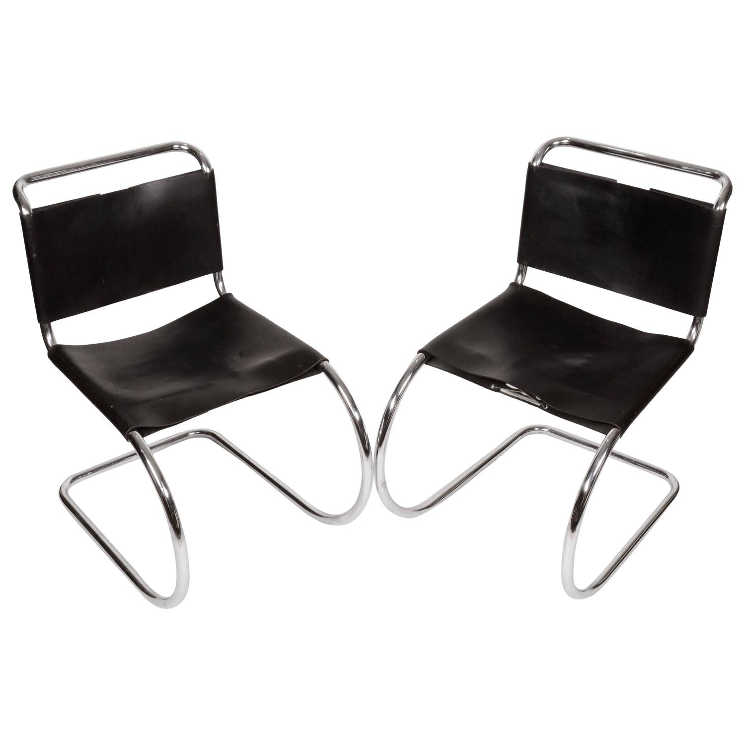 two black leather ludwig mies van der rohe mr chairs at 1stdibs. Black Bedroom Furniture Sets. Home Design Ideas