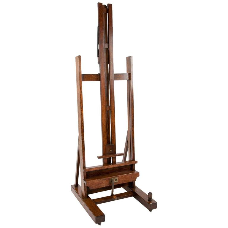 Large Victorian Oak Easel Winsor and Newton