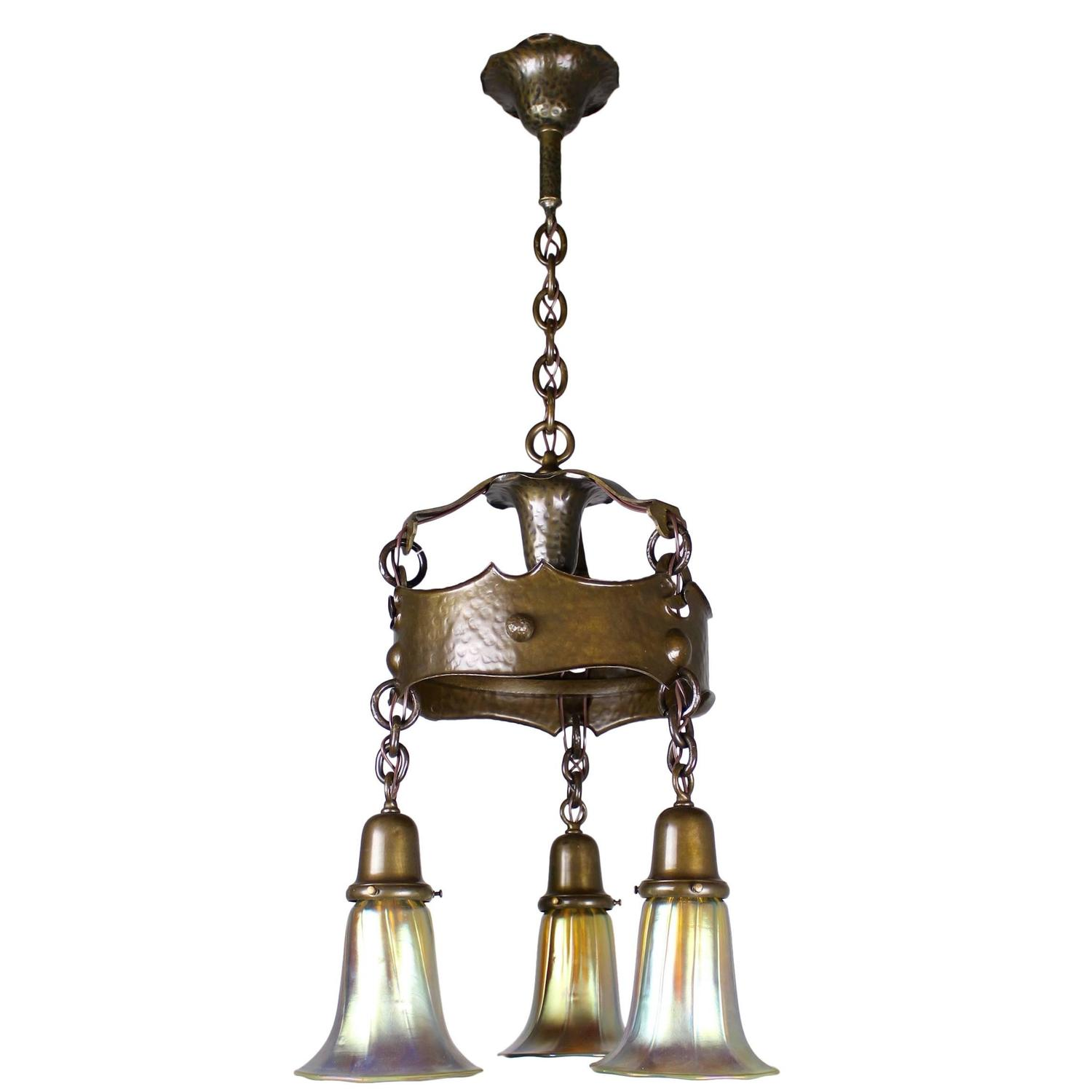 hammered arts and crafts fixture with art glass three. Black Bedroom Furniture Sets. Home Design Ideas