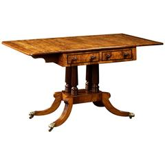 Beautiful English Regency Period Oak Library Table, circa 1810-1825