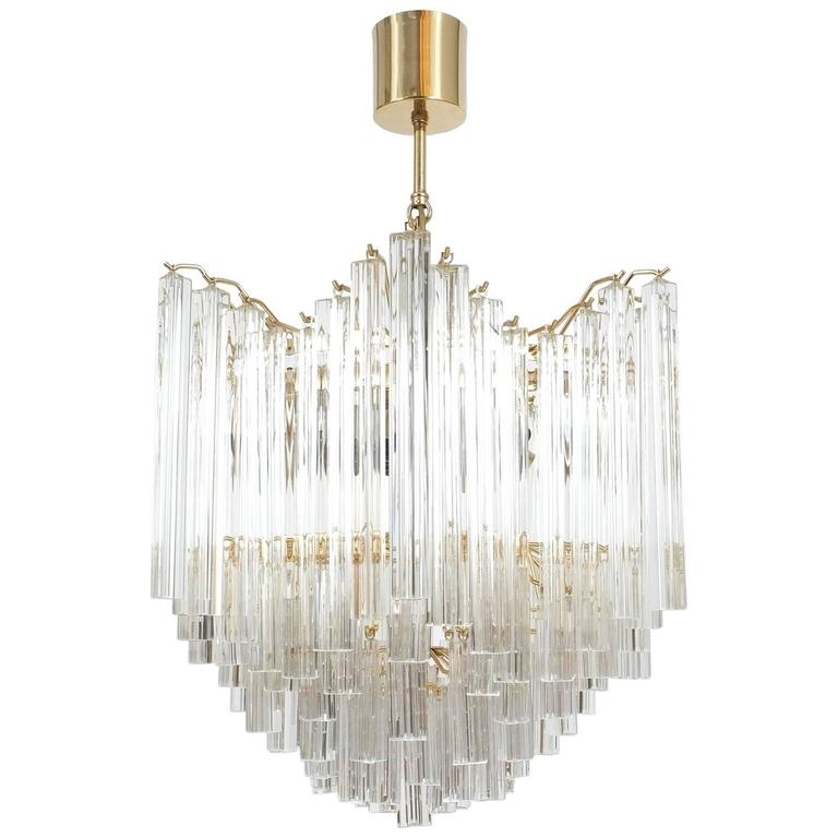 Murano Prism Chandelier: Four-Tier Chandelier With Murano Glass Triedri Prisms