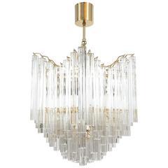 Four-Tier Chandelier with Murano Glass Triedri Prisms style of Venini