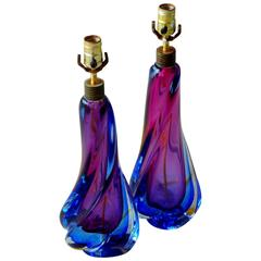 Pair of Art Glass Lamps by Flavio Poli for Seguso