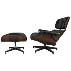 Vintage Rosewood and Leather Eames Lounge Chair and Ottoman