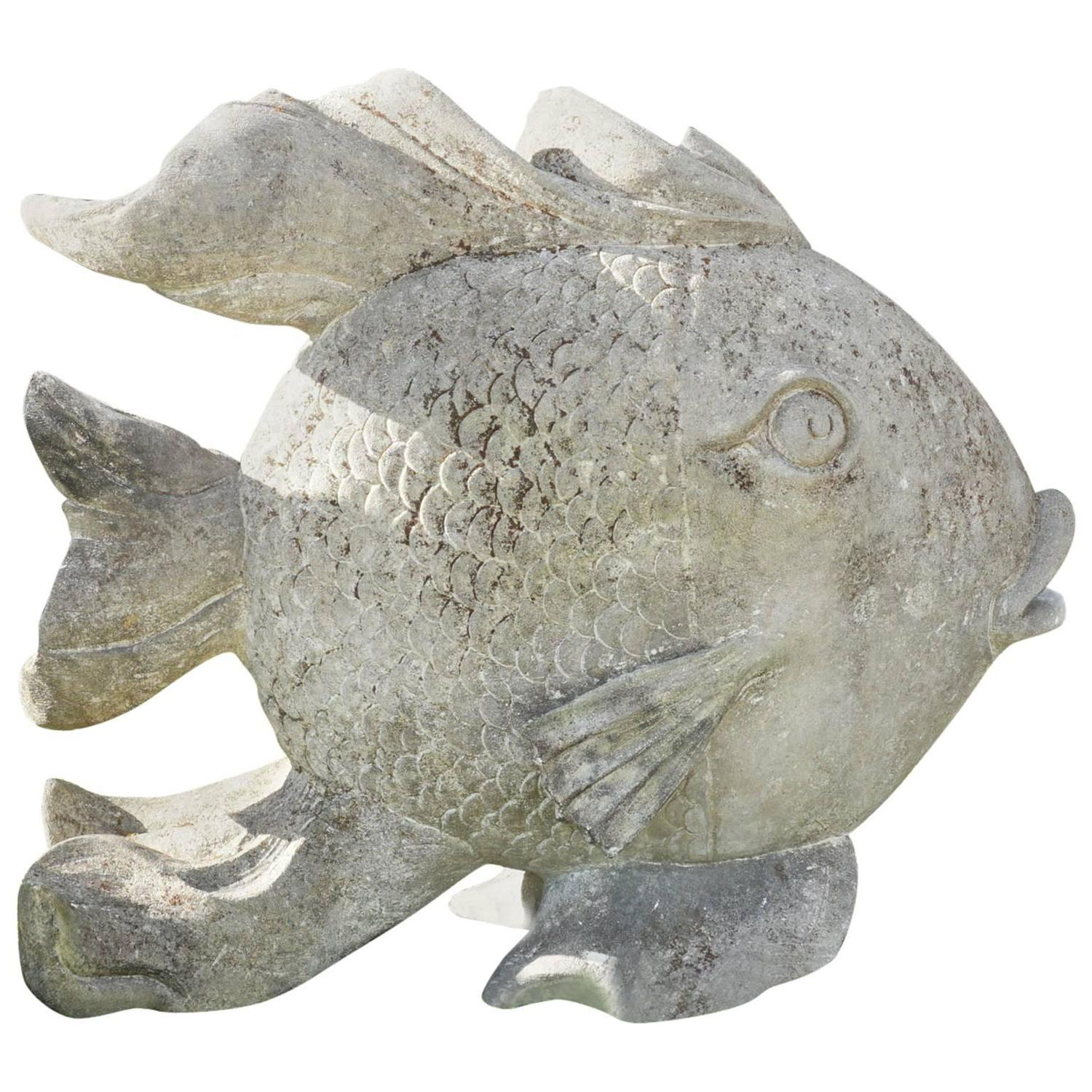 20th century large limestone fish garden statue at 1stdibs for Fish garden statue