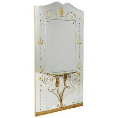 Rare Hall Mirror with Shelf and Door, Italy, 1930s