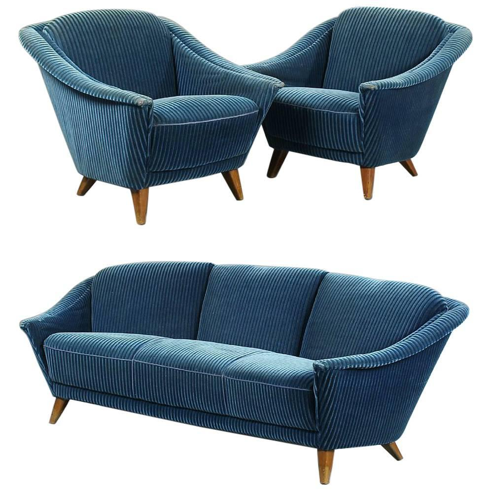Danish modern sofa and pair of chairs of good for Pair of chairs for living room