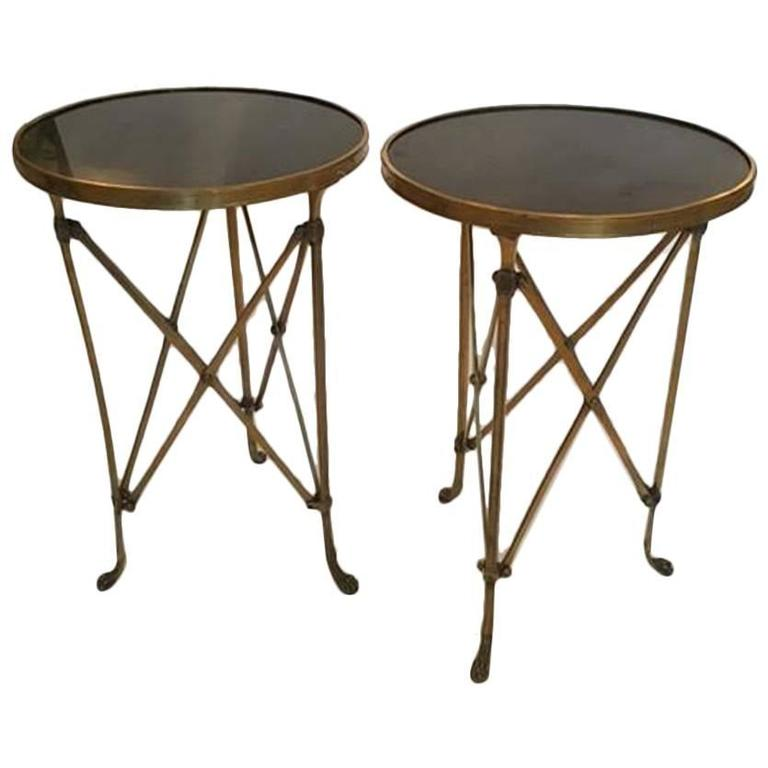 Pair of French Brass Neoclassical Gueridon Tables in the Jansen Manner In Excellent Condition For Sale In Wichita, KS