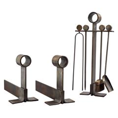 Modernist Wrought Iron Fireplace Set, France, 1950s
