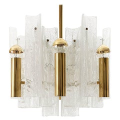 Kalmar Chandelier Brass and Glass, 1960s