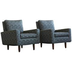 Pair of Early Florence Knoll Lounge Chairs from 1967, Reupholstered in the 1980s