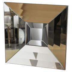 Mid-Century Modern Italian Beveled Op Art Mirror