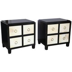 Style of Jean Michel Frank Ebony and Vellum Front Bedside Tables with Brass Pull