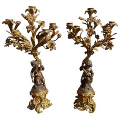 Pair of French Ormolu and Bronze Figural Candelabras, Circa 1830