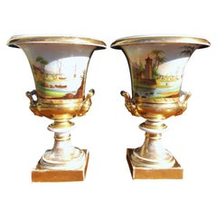 Pair of French Old Paris Gilt and Porcelain Mantel Urns, Circa 1820