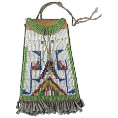"""Antique Native American Beaded """"Strike-A-Light"""" Bag, Sioux, 19th Century"""