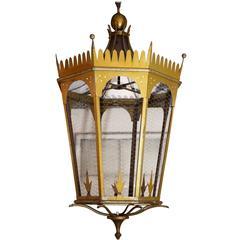 Large Italian Gold-Painted Lantern