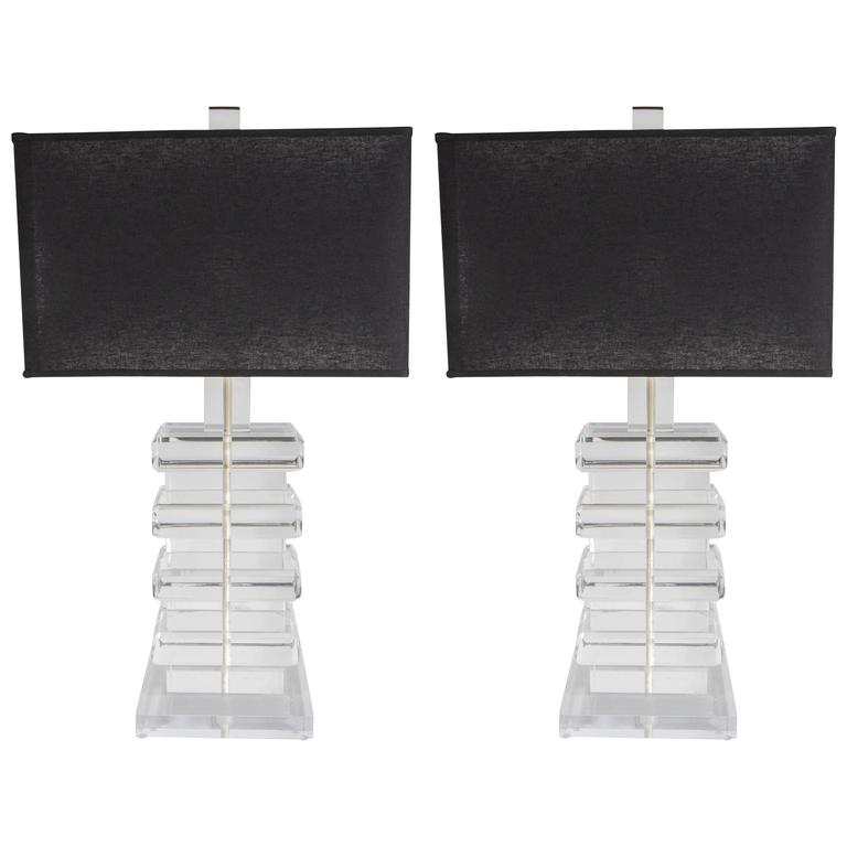 Pair of Mid-Century Modernist Stacked Lucite Lamps