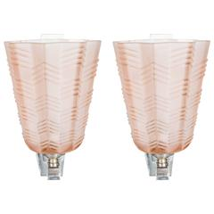 Pair of Art Deco/Skyscraper Style Nickel and Frosted Rose Glass Sconces