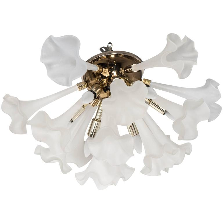 Handblown Flush Mount Murano Chandelier in Brass with Frosted Glass Flowers