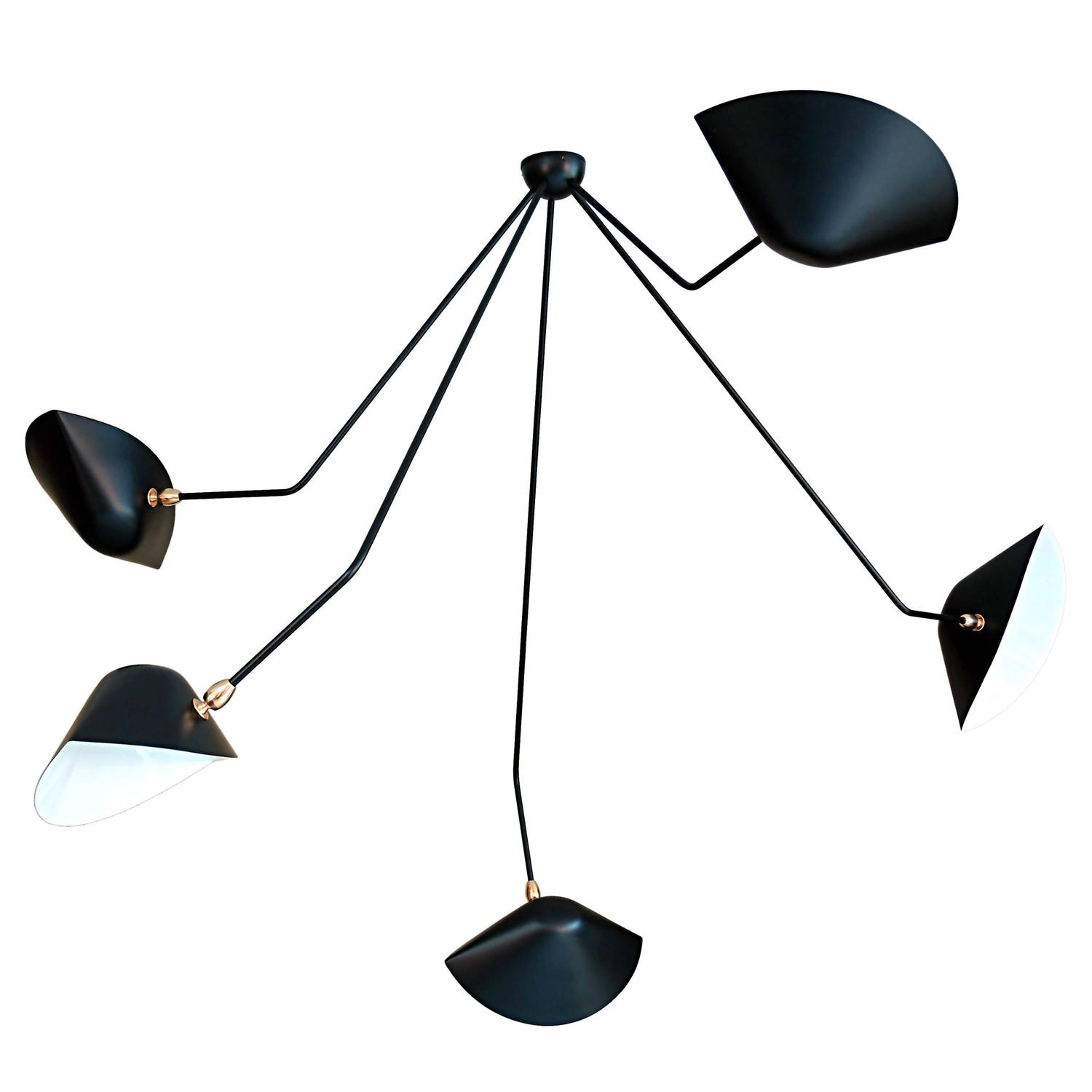 Falling Arm Ceiling Lamp by Serge Mouille at 1stdibs