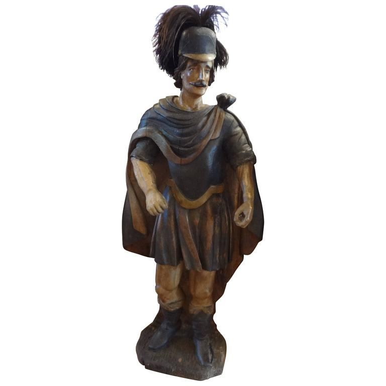 18th Century Spanish Conquistador Carved Wood Sculpture