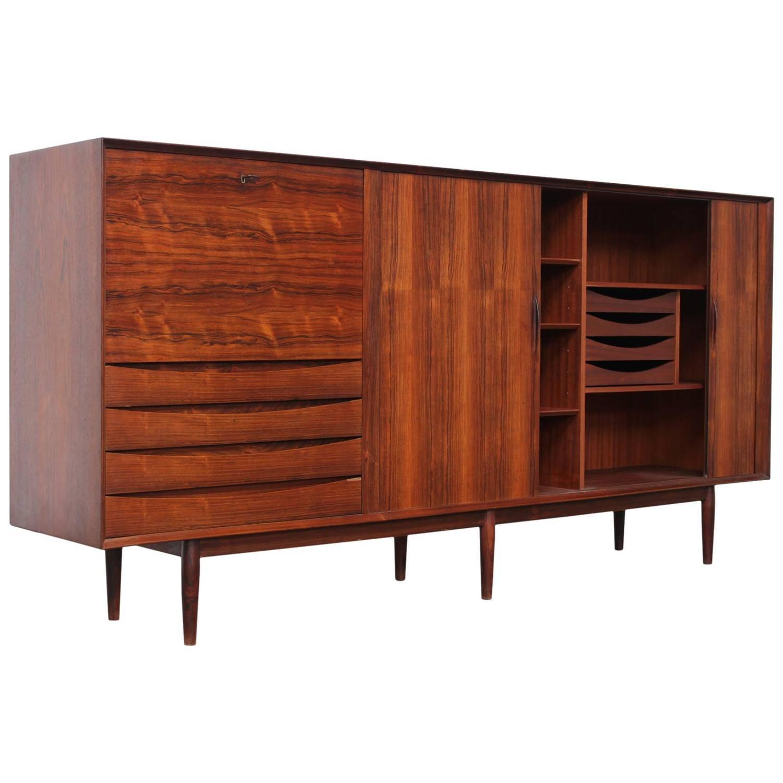 arne vodder rosewood tambour door sideboard for sibast furniture denmark 1960s at 1stdibs. Black Bedroom Furniture Sets. Home Design Ideas