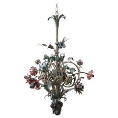 Six-Light French Wrought Iron Painted Floral Chandelier