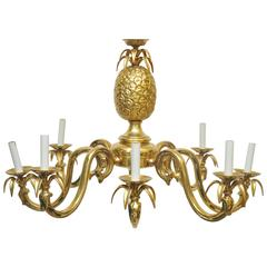 Large-Scale Solid Brass Pineapple Chandelier
