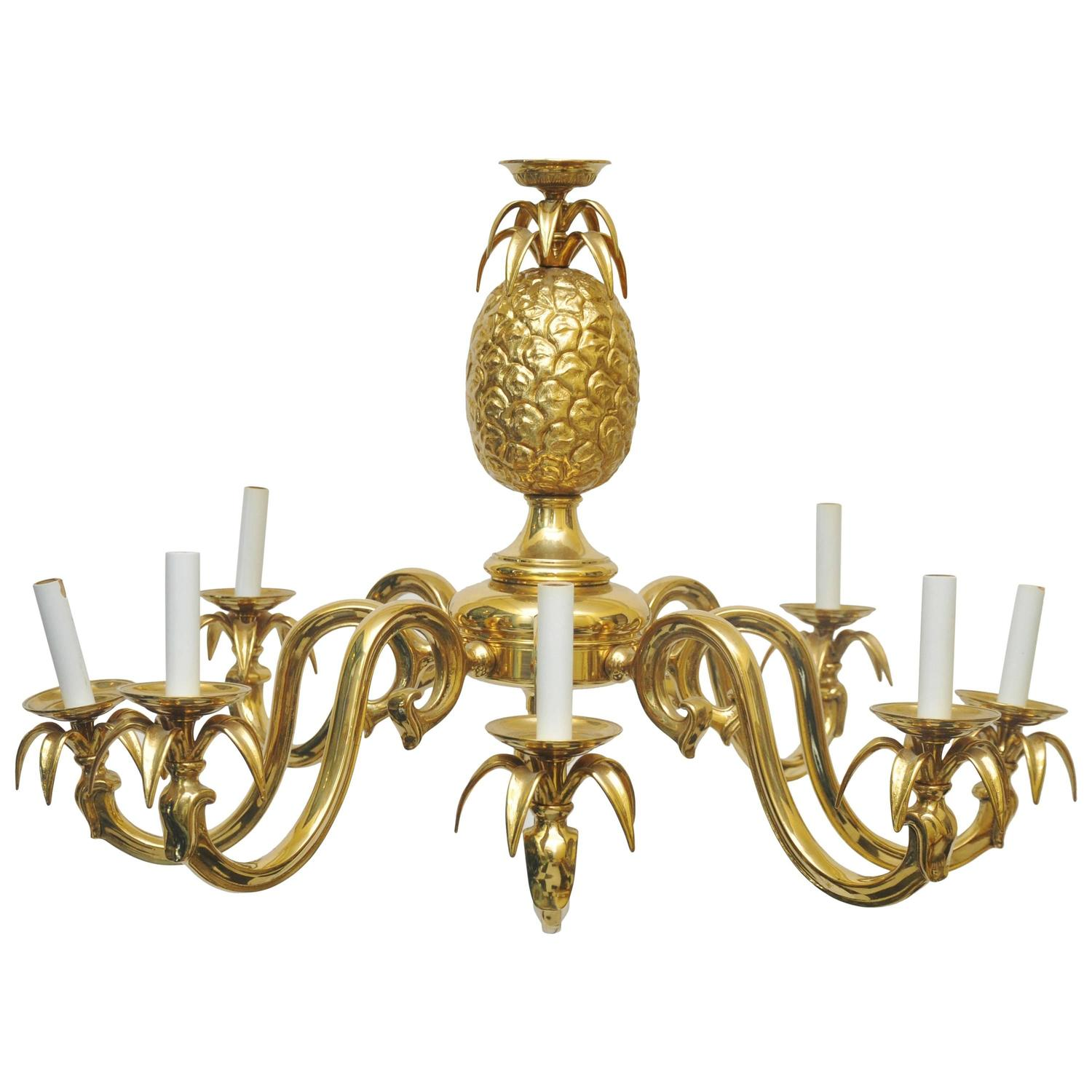 Scale Solid Brass Pineapple Chandelier at 1stdibs
