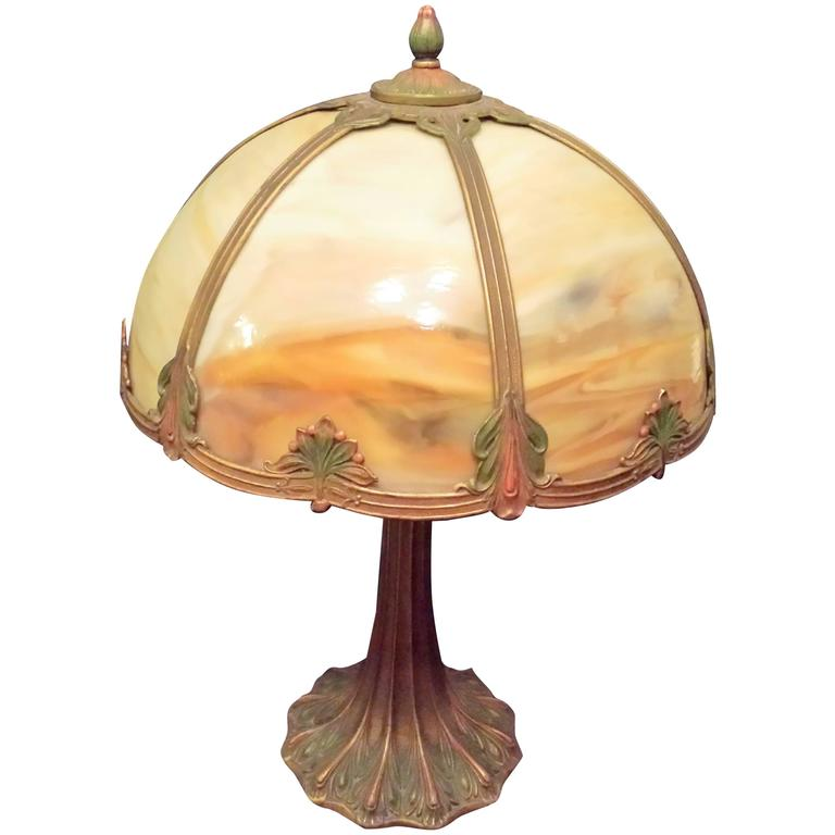 Slag Glass Table Lamp Carmel Colored Glass With A Decorated Shade